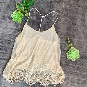 Pins and Needles lace and crochet t-strap tank.